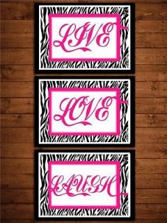 Hot pink and Zebra print nursery live love quote wall art room decor