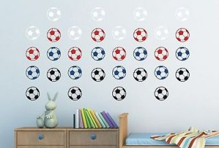 24 multicolored football wall stickers kids bedroom boys messi child