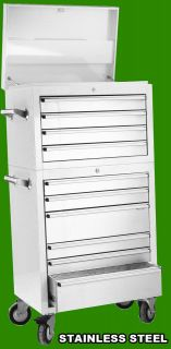 26 10 Draw Stainless Steel Tool Box Chest on Roll Cabinet Snap Lock