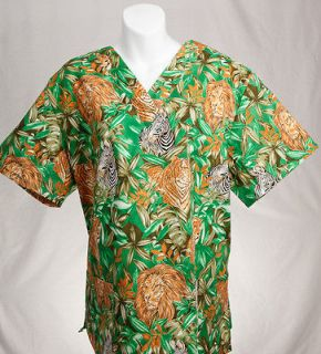 JUNGLE ANIMALS Printed Nurse Scrub Top XL XLARGE Nursing Scrubs   NEW