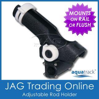 ADJUSTABLE RATCHET SIDE & RAIL MOUNT PLASTIC BOAT FISHING ROD HOLDER