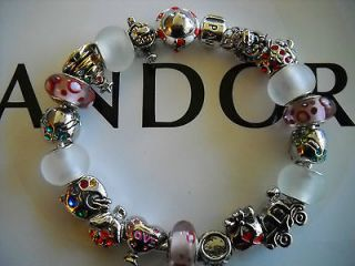 Authentic Pandora Charm Bracelet, 7.5, 7.9, 8.3 JINGLE BELL ROCK w