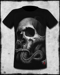 SULLEN CLOTHING BOB TYRELL MENS BLACK GREY SKULL TATTOO SHORT SLEEVE
