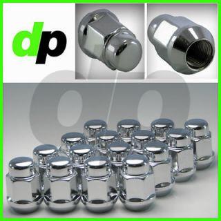 Chrome Closed End Bulge Acorn Heat Treated Wheel/Lug Nuts, 1/2 20 3/4