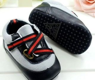 New GUESS Soft Sole Baby Boys Black/Gray Sneakers Crib Shoe. Age 3 12