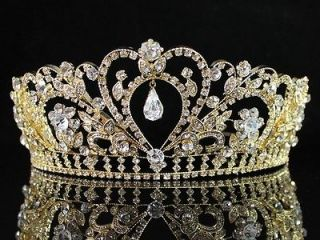 GORGEOUS CLEAR AUSTRIAN RHINESTONE CRYSTAL TIARA CROWN BRIDAL PAGEANT