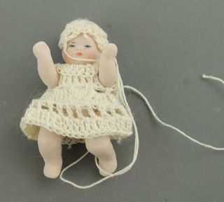 Miniature Porcelain Baby Doll Crochet Clothes Moveable Arms Legs