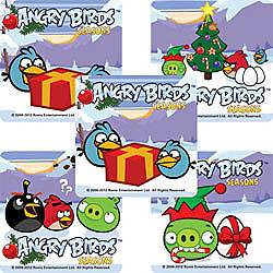 15 Angry Birds Christmas Stickers Party Favors Teacher Supply