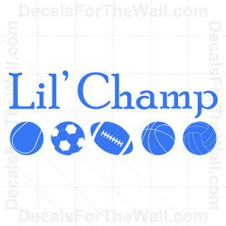 Lil Champ Little Boy Sports Baby Vinyl Wall Decor Decal Art Sticker