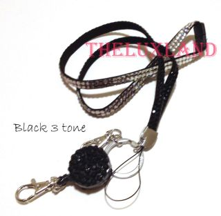 Bling Crystal Lanyard ID Badge Cell Phone Retractable Reel Holder Key