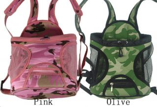 Camo pet dog front carrier bag, sturdy, front or back pack denim olive