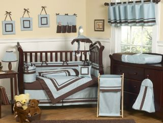 DESIGNER BLUE CHOCOLATE 9pc BABY BOY CRIB BEDDING COMFORTER SET ROOM