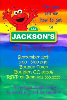 Custom Rainbow Sesame Street & Elmo Birthday Party Invitations cards