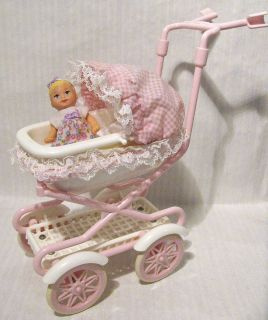 Barbie Baby Krissy Doll & Carriage Buggy Stroller Pram makes baby