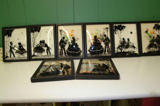 Antique Victorian Lot of 8 Silhouette Reverse Paintings on Bubble