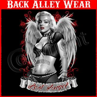 Lost Angel T SHIRT WINGS ROSES TATTOO M 3XL BIKER HOLLYWOOD BABE
