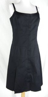PER SE Black Fitted Seamed Dress 8 M Double Front Zip Stretch Pleated
