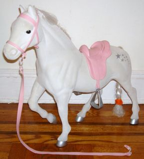 20 White BATTAT GIRL HORSE Saddle Pink Bred PONY Bridle for 18 DOLL