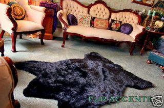 BIG BEAR SKIN AREA RUG BLACK FAUX FUR ACCENT FAKE SHEEPSKIN THROW 5x