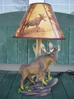 Newly listed BULL MOOSE TABLE DESK LAMP LODGE LOG CABIN RUSTIC DECOR