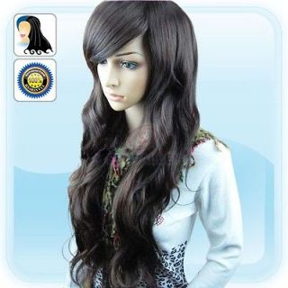 Fashion New Womens lady Long Wig full Hair Curl Wigs Dark Brown