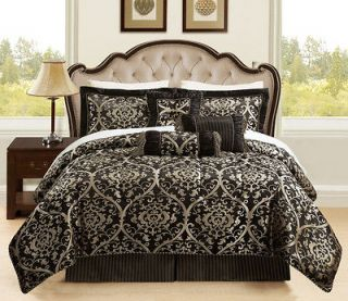 11 Piece King Prague Jacquard Black and Gold Bed in a Bag Set