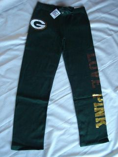 NEW VICTORIAS SECRET PINK GREEN BAY PACKERS BLING SWEATPANTS Sz XS