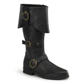 Mens Medieval Renaissance Pirate Costume Black Buckle Boots Small
