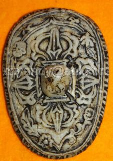 Amazing Antique Tibetan Gem Stone Cover for Kapala Bowl