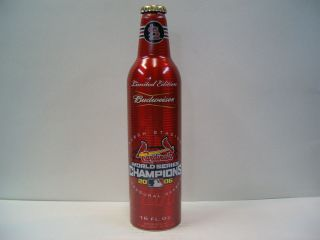 ST LOUIS CARDINALS WORLD SERIES CHAMPS EMPTY ALUMINUM BEER BOTTLE