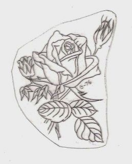 VINTAGE ACETATE TATTOO STENCIL Classic Old School Roses. Box D