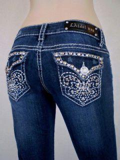 Plus Size LA Idol Bootcut Jeans Rhinestone Fleur De Lis Jewel Pockets