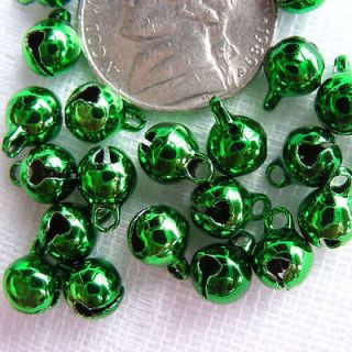 16 Green Tone Brass Charm Jingle Bells Beads d010(6mm)