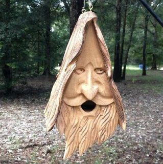 Wood Spirit Unique Old Man rustic Hand Carved Cedar Bird House