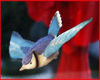 BLUE JAY flying thru glass effect BLUEJAY, Gift Idea, HAND PAINTED