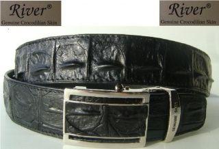Black Genuine Crocodile Skin Big Bumps Backbome Skin Mens Leather Belt