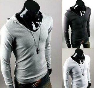 Mens Hoodie Slim fit Top Casual T Shirt Tee US XS M 4