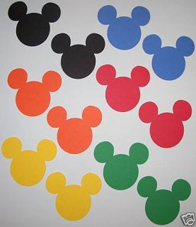 300 Black Yellow Red Mickey Mouse Heads Die Cuts Confetti Scrapbooking