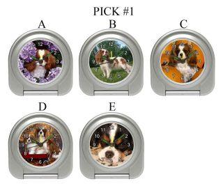 King Charles Spaniel Dog Puppies A E Travel Alarm Desk Clock #PICK 1