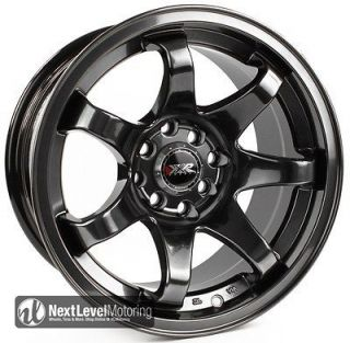 15x8 4x100 4x114.3 CHROMIUM BLACK STAGGERED WHEELS RIMS CIVIC 240SX