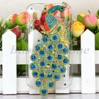 For Samsung Galaxy Ace S5830 Bling Crystal Diamond Metal Peacock Skin
