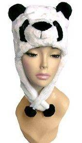 PLUSH JUNGLE ANIMAL HAT BLACK & WHITE PANDA BEAR NIP UNISEX FITS MOST