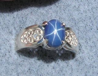 8X6MM BLUE LINDE LINDY STAR SAPPHIRE CREATED SS RING