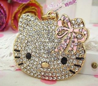 Mirror Pink Butterfly Cute Swarovski Crystal Hello Kitty Cat Key Chain