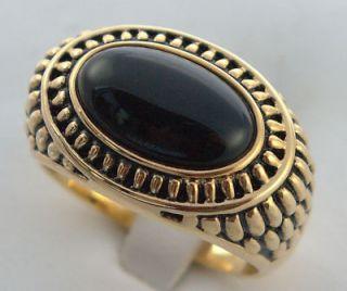 Greek style AWESOME DETAILED Black Onyx ring 14K gold overlay size 13