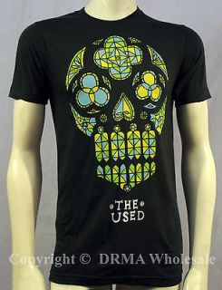 Authentic THE USED Band Stained Glass Skull Slim Fit T Shirt S M L XL