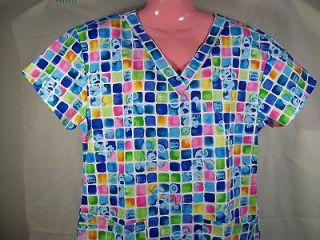 NEW Nursing Medical Scrubs Top Blues Clues Square Blue MEDIUM