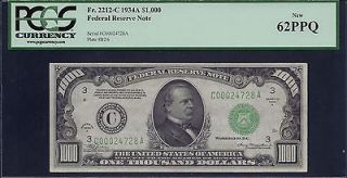 1934A $1000 ONE THOUSAND DOLLAR BILL FEDERAL RESERVE NOTE FRN PCGS
