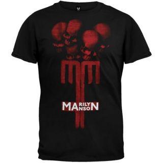 Marilyn Manson   Skull Cross T Shirt Music Artist Band Tee Shirt