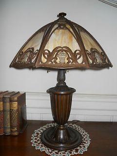 ART NOUVEAU DECO LAMP with Caramel Glass Panels BRADLEY HUBBARD